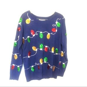 Christmas Ugly Sweater Sequin Blue Multi Color SM